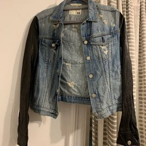 Rag and Bone/JEAN Jacket with Leather Sleeves